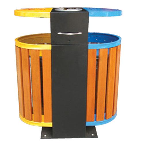 钢木分类垃圾桶,单筒垃圾箱